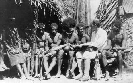 Malinowski with natives, Trobriand Islands, 1918